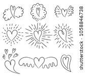 hearts collection. doodle... | Shutterstock .eps vector #1058846738