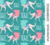 time to travel. girl swims.... | Shutterstock .eps vector #1058848532