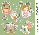 set of stickers about spring.... | Shutterstock .eps vector #1058849522
