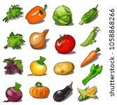 set of ripe vegetables isolated ... | Shutterstock .eps vector #1058868266