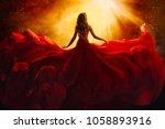 fashion model back side in red... | Shutterstock . vector #1058893916