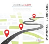 navigation concept with pin... | Shutterstock . vector #1058905388