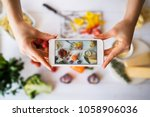 food blogger concept. young... | Shutterstock . vector #1058906036