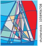 abstract sailboat with red... | Shutterstock .eps vector #1058906708