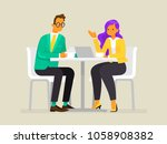 conversation of business people.... | Shutterstock .eps vector #1058908382