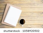 top view blank open notebook... | Shutterstock . vector #1058920502