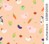 farm animals and vegetable...   Shutterstock .eps vector #1058920535