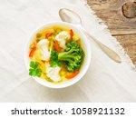 bright spring vegetable dietary ... | Shutterstock . vector #1058921132