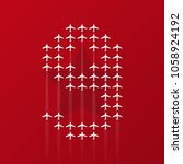 9 may airplanes postcard | Shutterstock .eps vector #1058924192