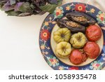 upper view shot of meat stuffed ...   Shutterstock . vector #1058935478
