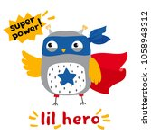 Stock vector little cartoon owl superhero postcard print for t shirt 1058948312