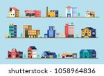 set of city buildings. bank ... | Shutterstock .eps vector #1058964836