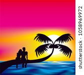 lover man woman sit on palm... | Shutterstock .eps vector #1058969972