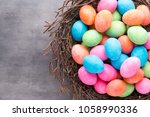Easter Colored Eggs On The...
