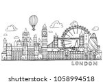 london doodles drawing... | Shutterstock .eps vector #1058994518