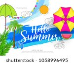 hello summer greeting card... | Shutterstock .eps vector #1058996495
