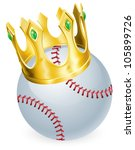 King of baseball concept, a baseball ball wearing a gold crown - stock vector