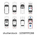white different cars. top view | Shutterstock .eps vector #1058999288