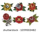 vector set of roses.... | Shutterstock .eps vector #1059003482
