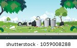 the garbage that was dumped in... | Shutterstock .eps vector #1059008288