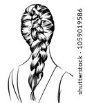 stylish beautiful braided... | Shutterstock .eps vector #1059019586