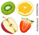 fruit slices isolated on white | Shutterstock . vector #105902966