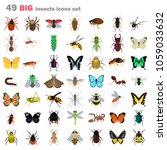 big insects color flat icons set | Shutterstock .eps vector #1059033632