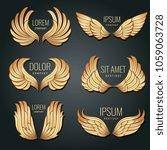 Golden Wing Logo Set. Angels...