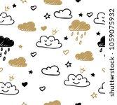hand drawn seamless pattern... | Shutterstock .eps vector #1059075932
