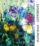 pansy flower. abstract acrylic... | Shutterstock . vector #1059080045