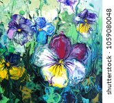 pansy flower. abstract acrylic... | Shutterstock . vector #1059080048
