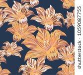 tropical palm flowers . vector... | Shutterstock .eps vector #1059087755