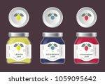 three labels fruit jam. lemon ... | Shutterstock .eps vector #1059095642