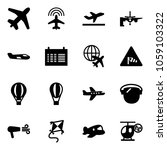 solid vector icon set   plane... | Shutterstock .eps vector #1059103322