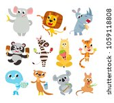 collection of cute cartoon... | Shutterstock .eps vector #1059118808
