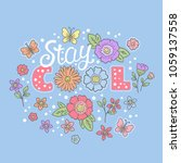 stay cool. summer slogan with...   Shutterstock .eps vector #1059137558