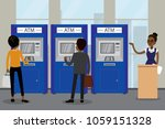 different people and atm bank... | Shutterstock .eps vector #1059151328