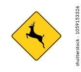 usa traffic road sign. deer... | Shutterstock .eps vector #1059153326