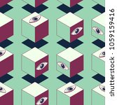 abstract cubes with eyes.... | Shutterstock .eps vector #1059159416