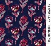 protea hand drawn seamless... | Shutterstock .eps vector #1059162962