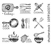 vector set with logos. bakery.... | Shutterstock .eps vector #1059163376