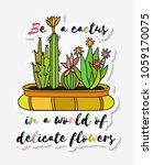 sticker with cactuses in pot... | Shutterstock . vector #1059170075