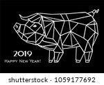 2019 happy new year greeting... | Shutterstock . vector #1059177692