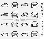 set of various cars front and... | Shutterstock . vector #1059205988