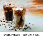 ice coffee in a tall glass with ... | Shutterstock . vector #1059215438