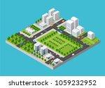 city isometric set | Shutterstock . vector #1059232952