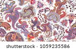 colorful paisley pattern for... | Shutterstock .eps vector #1059235586