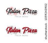 pizza food logo or emblem for... | Shutterstock .eps vector #1059243902