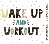 wake up and workout cute hand... | Shutterstock .eps vector #1059245288
