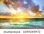sunset in cancun  beach. mexico ... | Shutterstock . vector #1059245972